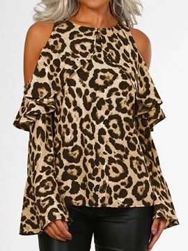 Round Neck Flare Sleeve Leopard Long Sleeve Women's Blouse