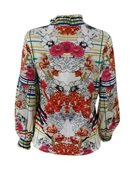 Floral Stand Collar Print Long Sleeve Women's Blouse