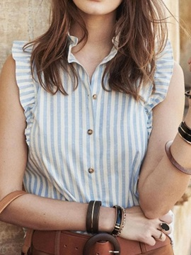 Stand Collar Stripe Falbala Short Sleeve Mid-Length Women's Blouse