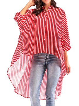 Patchwork Stripe Lapel Long Half Sleeve Women's Blouse