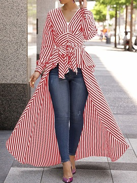 Stripe Patchwork V-Neck Long Long Sleeve Women