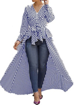 Stripe Patchwork V-Neck Long Long Sleeve Women's Blouse