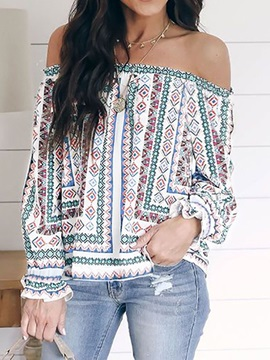 Geometric Off Shoulder Print Long Sleeve Women
