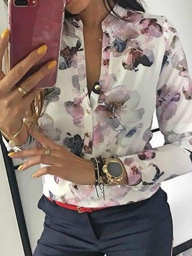 Stand Collar Floral Print Long Sleeve Women