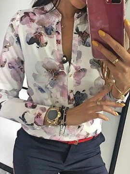 Stand Collar Floral Print Long Sleeve Women's Blouse