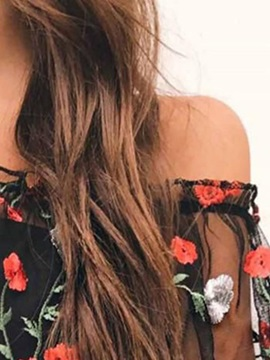 Floral Off Shoulder See-Through Three-Quarter Sleeve Women's Blouse