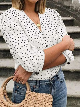 Plus Size Polka Dots V-Neck Three-Quarter Sleeve Women's Blouse