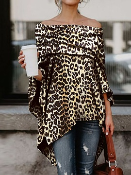 Asymmetric Off Shoulder Leopard Mid-Length Women's Blouse