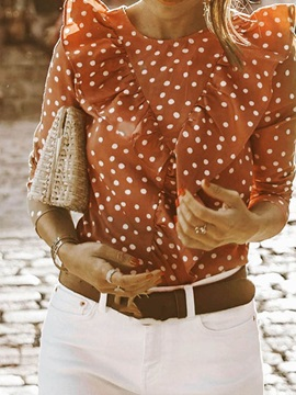 Round Neck Polka Dots Pleated Women's Blouse