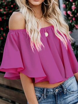 Pleated Flare Sleeve Off Shoulder Short Women