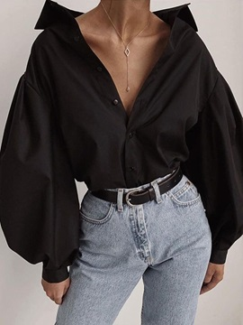 Plain Button Lantern Sleeve Women's Blouse
