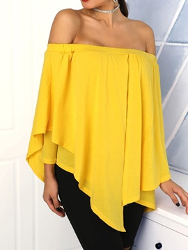 Pleated Plain Off Shoulder Women's Blouse