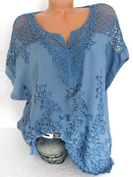 Plus Size Plain V-Neck Lace Hollow Women's Blouse