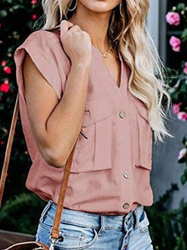 Plain Button V-Neck Pocket Women's Blouse