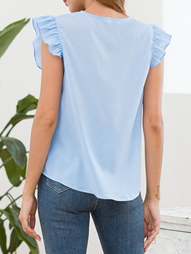 Plain See-Through Pleated Women's Blouse