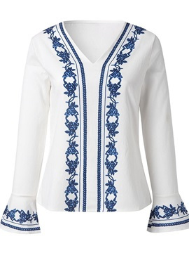 Ethnic Floral Print V-Neck Flare Sleeve Women's Blouse
