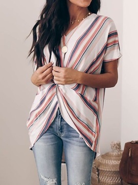 Stripe V-Neck Print Pleated Mid-Length Women's Blouse