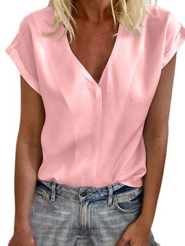 Plus Size Plain V-Neck Button Women's Blouse