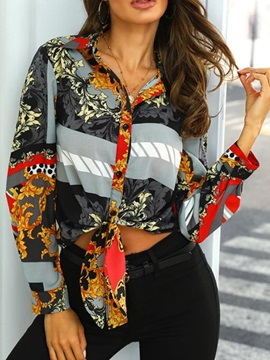 Color Block Floral Print Button Women's Blouse