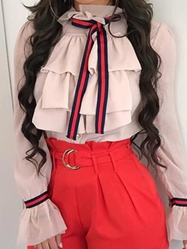 Color Block Bowknot Pleated Women