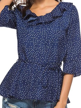 Flare Sleeve Polka Dots Pleated Women's Blouse