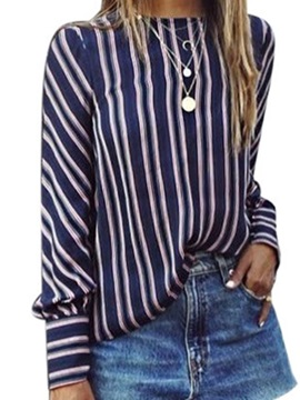Stripe Print Long Sleeve Women's Blouse