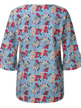 Floral V-Neck Pleated Loose Women's Blouse