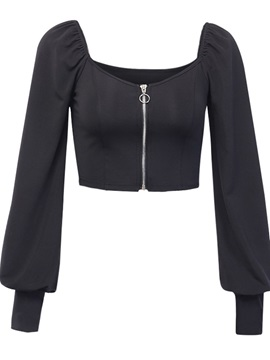 Zipper Plain Short Long Sleeve Women's Blouse