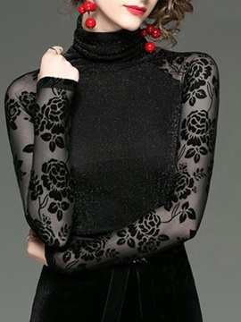 Regular Turtleneck Lace-up Patchwork Long Sleeve Standard Women's Blouse
