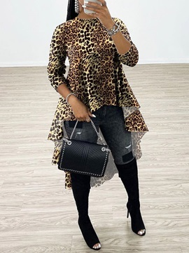 African Fashion Regular Patchwork Leopard Long Sleeve Long Women's Blouse