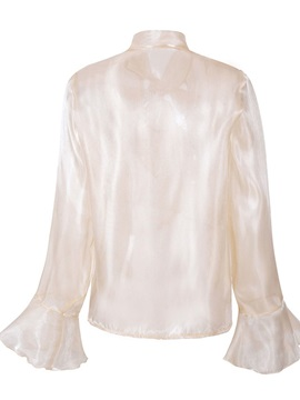 Plain Color Long Sleeve Style Women's Blouse