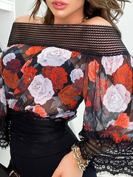 Floral Print Off Shoulder Standard Nine Points Sleeve Women's Blouse