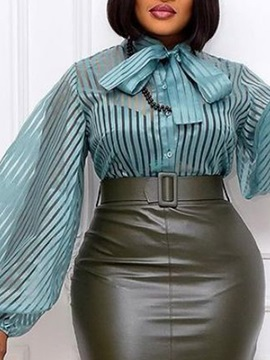 See-Through Stand Collar Stripe Standard Long Sleeve Women's Blouse