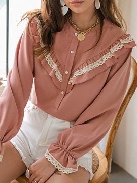 Patchwork Flare Sleeve Round Neck Standard Long Sleeve Women's Blouse