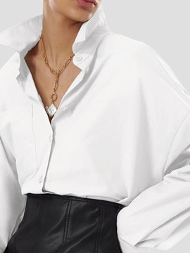 Regular Lapel  Long Sleeve Mid-Length Women's Blouse