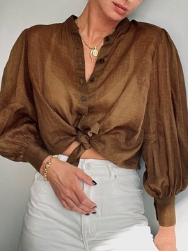Stand Collar Plain Patchwork Long Sleeve Mid-Length Women's Blouse