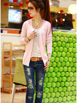 Elegant Korean Style Long Sleeves Knit Asymmetrical Slim Cardigan