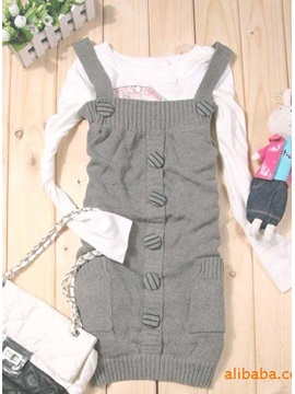 Japanese Style Pockets Straped Single-breasted Knit Jumper Dress