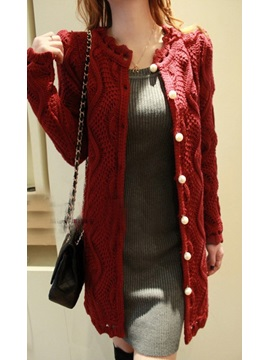New Korean Style Knit Pearl Long Cardigan