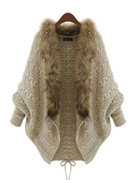 Bat Sleeve Wool Knitting Faux Fur Women's Cardigan