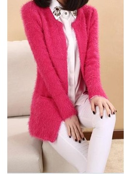 Multi Color Fresh Mohair Long Sleeves Knit Cardigan