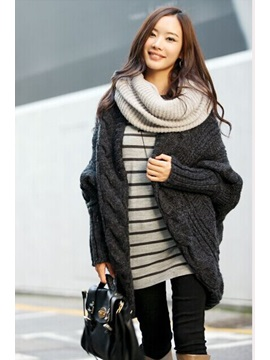 Chic Multi-Color Split Long Sleeve Loose Knit Cardigan