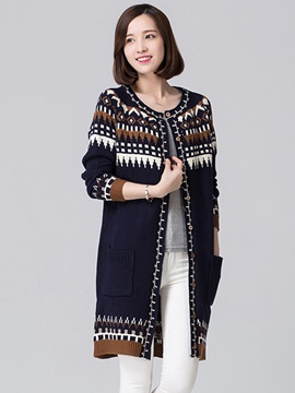 Special Pattern Straight Cardigan