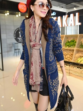 Chic Pattern Hooded Warm Overcoat