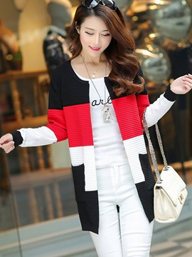 Stylish Color Block Cardigan