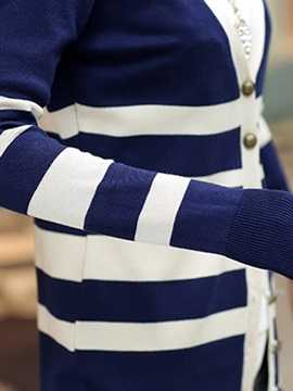 Stylish Stripe V-Neck Cardigan