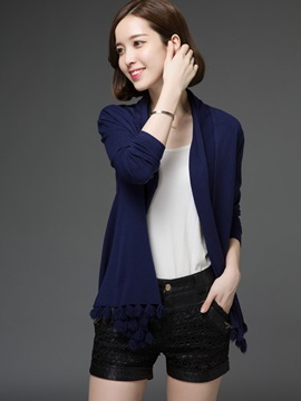 Stylish Solid Color Tassel Decorated Short Cardigan