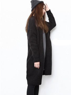 Simple Plain Mid-Length Loose Cardigan