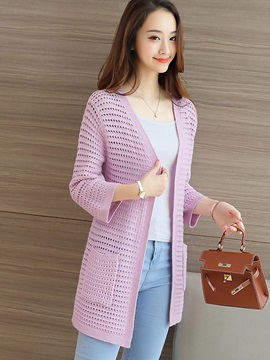 Casual Solid Color Mid-Length Slim Cardigan