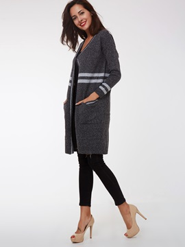 Stylish Color Block Long Sleeve Loose Cardigan